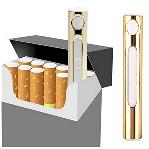 [1 Pack] Gold USB Charger Electric Lighter – Nacodex Rechargeable USB Lighter, USB Cigarette Lighter Portable Rechargeable ([1 Pack] Gold)