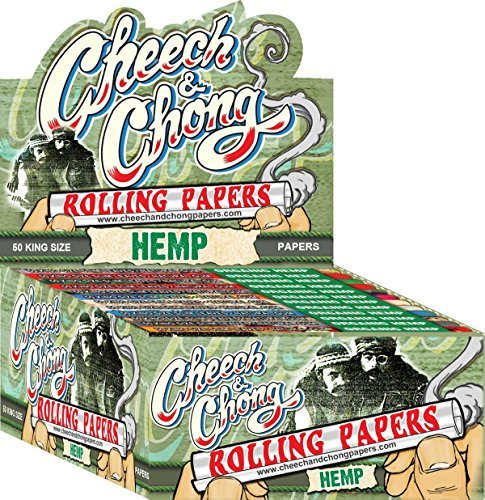 12 Packs Cheech and Chong King Size Hemp Cigarette Rolling Papers (50 Rolling Papers Per Pack) + Limited Edition Beamer Smoke Sticker. Used with Legal Smoking Herbs, Rolling Tobacco, Herbal Mixes