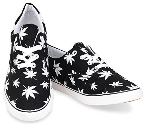 Hipster Mens Marijuana Weed Leaf Skate Shoe Black 8 D M