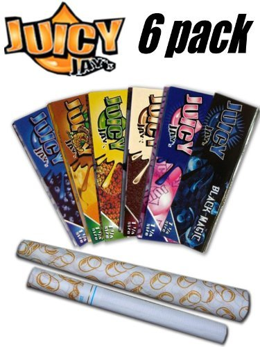 6 Pack Variety Juicy Jay Flavored Rolling Papers + Beamer Smoke Sticker