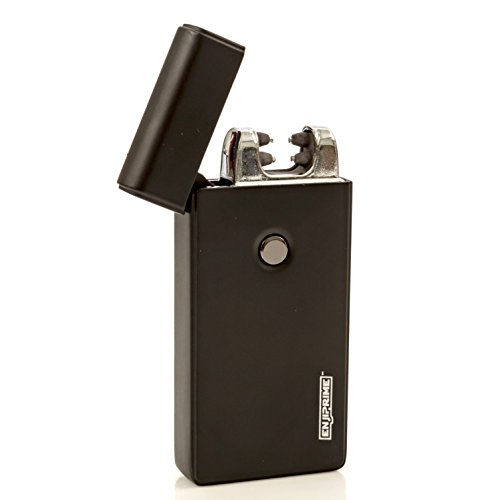 70% off end soon, Hurry, Best Double Arc USB Black Electric Rechargeable Arc Lighter, Enji Prime, spark At The Push Of a Button, Flameless, Windproof, Eco Friendly & Energy Saving