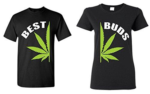Couple-Matching-Best-Buds-Pot-Leaf-T-shirt-Marijuana-Weed-0