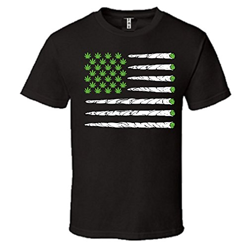 Marijuana-Flag-Mens-Crew-Neck-Hemmed-Sleeves-T-Shirt-Funny-Weed-Smoker-Shirts-0