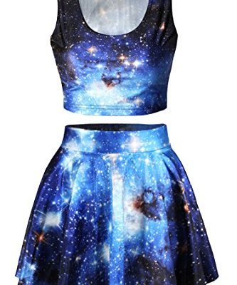Pink-Queen-Galaxy-Print-Crop-Tank-TopPleated-Skater-Skirts-Set-For-Women-0