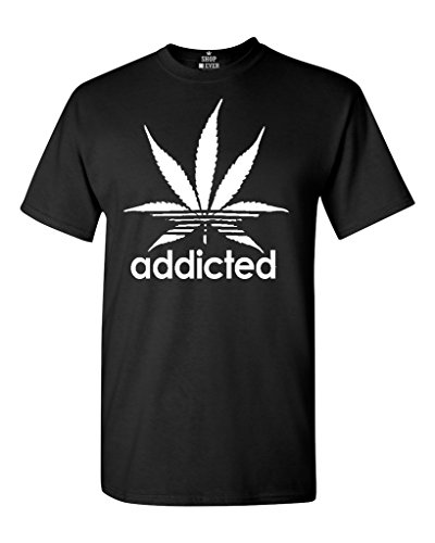Shop4Ever-Addicted-White-Leaf-T-shirt-420-Weed-Day-Shirts-0