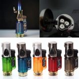 Triple-Jet-Flame-Torch-Refillable-Butane-Gas-Cigarette-Cigar-Lighter-Windproof-0