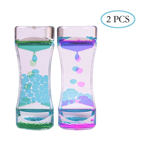 Teenitor 2 PCS Liquid Motion Timer Bubbler, Desk Sensory Toy Timer Floating Marine Life Animals for Play, Fidgeting, Captivating Distraction
